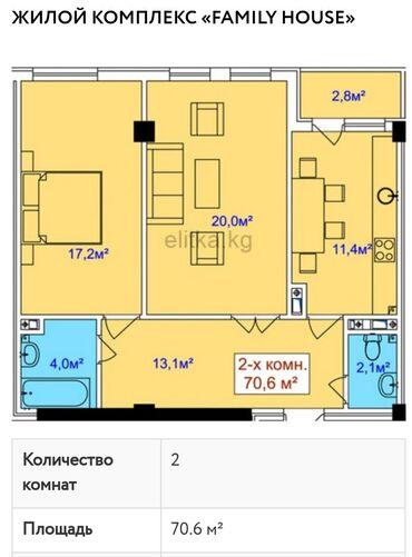 жар в Кыргызстан: Продается квартира: 2 комнаты, 70 кв. м