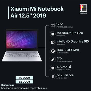 Ноутбук xiaomi mi notebook air 12-5'' 2019 m3-8100y 8th gen/intel uhd