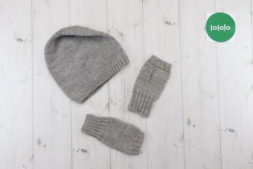 Жіночий в'язаний набір (шапка та рукавички)    Довжина: шапка: 22 см