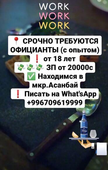 официант бишкек in Кыргызстан | ОФИЦИАНТЫ: Официант. До 1 года опыта. Сменный график. 12 мкр