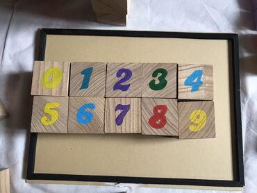 Деревянные кубики Монтессори знакомят с цифрами и формами, приятны на