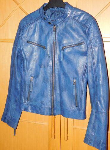 Duzina cm jakna - Srbija: Prelepa plava kozna decija jakna, meka vrhunska koza, izuzetna nijansa