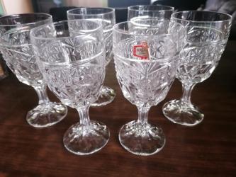 Ostalo za kuću | Smederevo: 6 kristalnih čaša, kristal Zaječar, od kojih su dve čaše malo