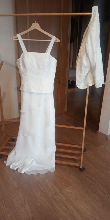 Свадебное платье, 48-50 размер, с костюмом поверх платья, платье на