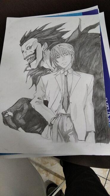 Ryuk and Kira Qara qələmlə çəkilmişdir A3 formatında akvarel də 35