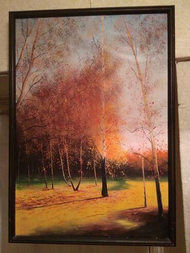 Картина (холст, масло), в рамке (дерево) ширина рамки - 2 см, размер