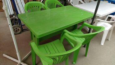 Masa ve oturqcaq desti plastik 4 neferlikodeme nagd ve ya kocurme yolu