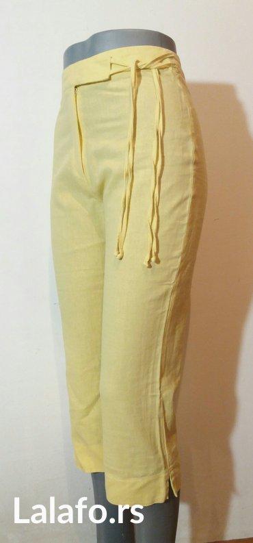 Pantalone letnje 7/8 duzine,divne limun zute boje od mesavine lana i p - Beograd - slika 5