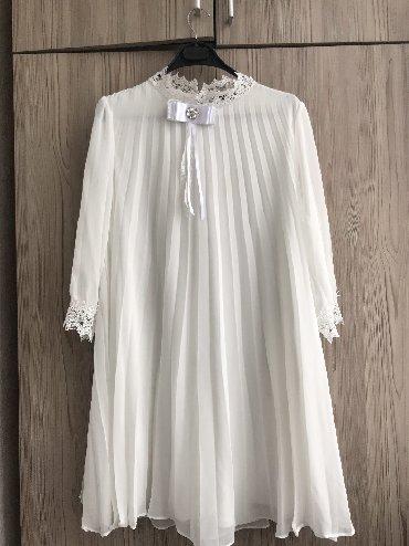 Женская одежда в Лебединовка: Красивое Белое Платье выше колен На С и М свободное надето один раз