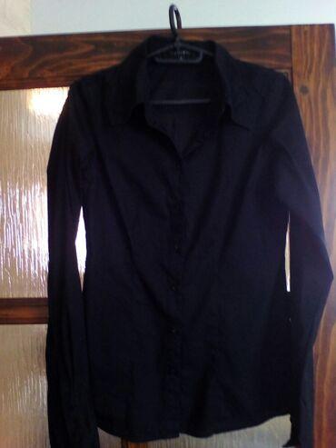Sako crne boje - Srbija: Zenska kosulja, crna boja, strukirana, broj S, dug rukav, samo 200