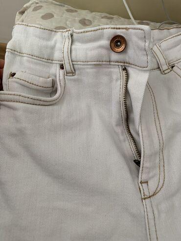 Отличные джинсы белые на высокой посадке состояние хорошее хлопок