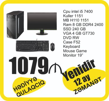 Compyuter intel Core I5  в Bakı