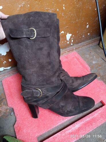 Натуральная замша.зимние сапоги на каблуках очень удобные и стильные