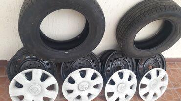 размер шин 18565 r15 в Кыргызстан: Диски r15 Тойота +шины 2штук. +колпаки оригинал 4штук