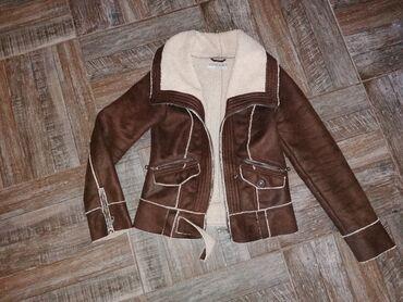 Jakna sa krznom - Srbija: Zimska kozna jakna sa krznom, c&a. Velicina S, kao nova
