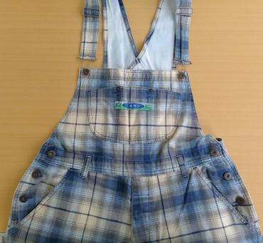 Plave pantalone - Srbija: Pantalone tregerice, plavo-sivo-bež boje, vel L