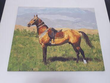 Продаю картину лошади. Размер 50×40 Рисунок сделан по номерам
