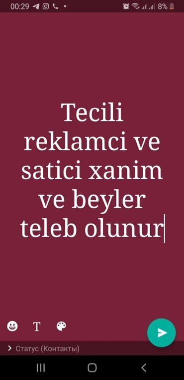 Satış - Azərbaycan: Salam.Xanimlara ve beylere iş elanı təklif olunur təcilidir