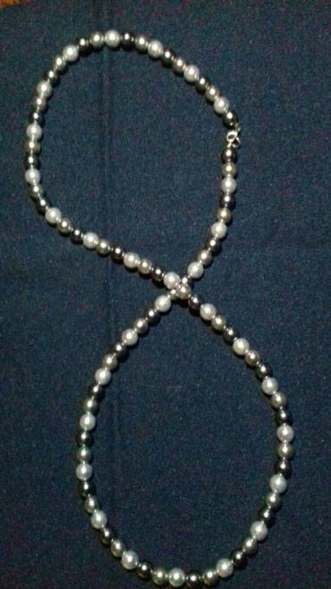 Κολιέ διχρωμες  χάντρες χειροποίητο σε πουγγί για δωρακι σε Kallithea
