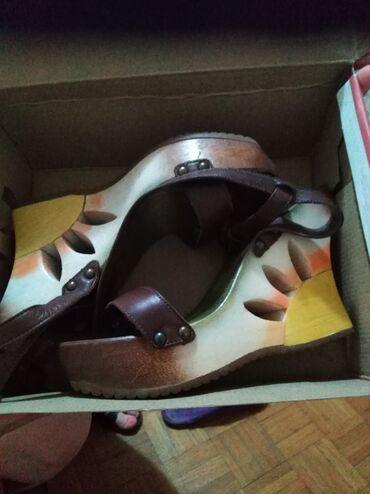 Braon kozne sandale broj pitajte - Srbija: Sandale kozne nove