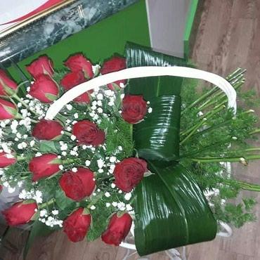 Оригинальные корзины с розами и в Бишкек