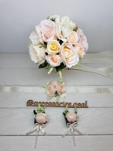 свадебный букет в Кыргызстан: Свадебный букет невесты Цена за набор  Цветы искусственные  Пишите на