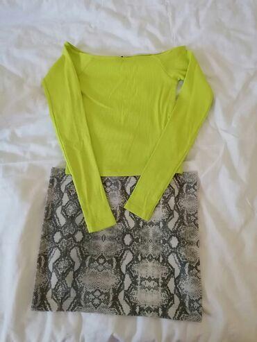 Suknja - Srbija: Suknjica S duzina 32 cmZmijski printCrop top majca neon zelena