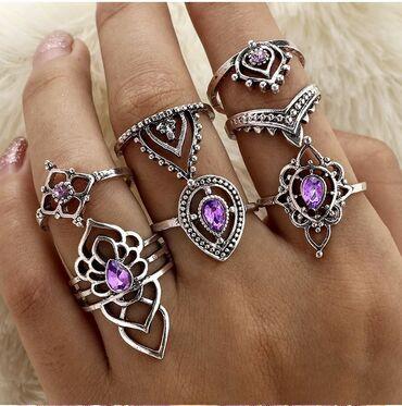 Odan materijal broj - Srbija: Set od 7 elegantnih prstenova NOVOSet od 7 potpuno novih i