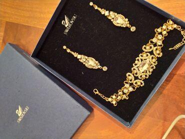 Красивое украшение Swarovski новое серьги и браслет
