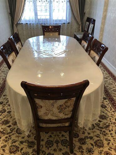 т т к н 2 класс в Кыргызстан: Срочно!!! Продаю стол со стульями ! Размер стола 2.5 ширина 1.1 и 8