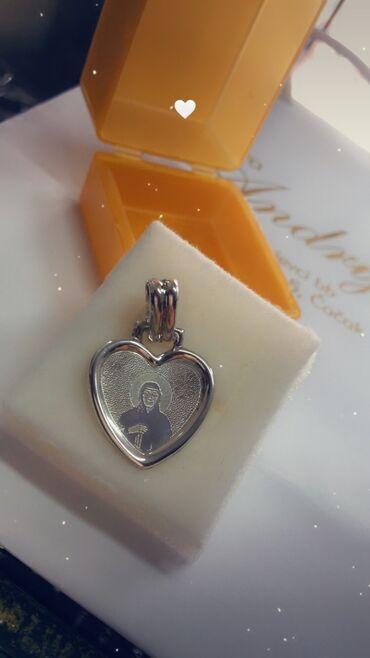 Privezak srebro - Srbija: Sveta Petka privezak srebrni u obliku srca Srebro 925