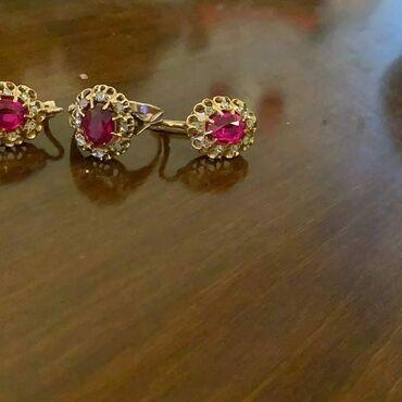Aksesuarlar Kürdəmirda: Komplekt 9,7 qram585 eyar qedmi rubin almaz dawli 1000 azn real