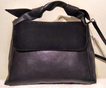 Torba dimenzije - Srbija: Zara crna kožna torba NOVO Prelepa Zara crna torba izrađena u kombinac