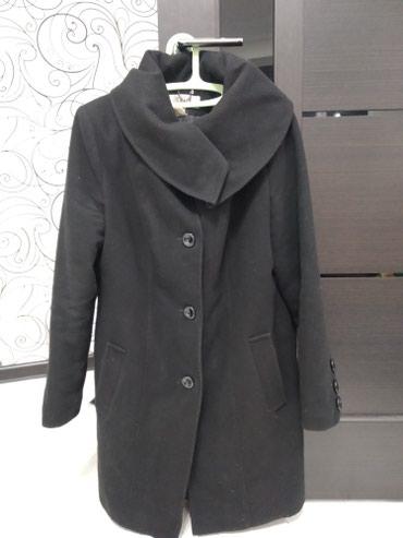 Кашемировое пальто черного цвета(б/у), размер 48,в хорошем состоянии в Бишкек