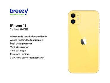 IPhone 11 | Sarı | İşlənmiş | Zəmanət, Simsiz şarj, Face ID