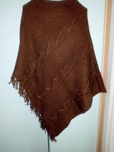 Braon - Srbija: Pleteni pončno od prelepe braon vune, veličina univerzalna, nov, vrlo
