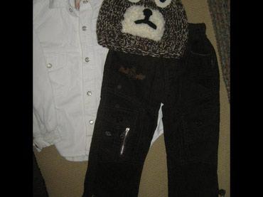 Somot bela košuljica za dečaka, somot braon pantalone i kapa vel 3 god - Paracin