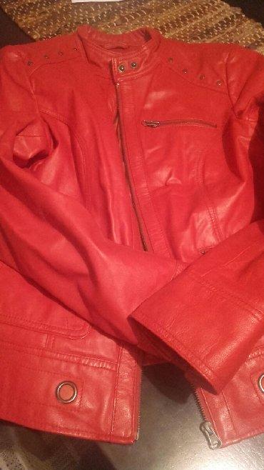 Jakna kozna crvena - Srbija: Kozna jakna,38,kao nova