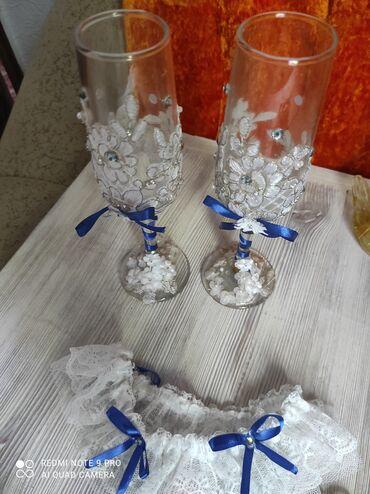 Свадебные фужеры, подвязка на ножку невесты,украшение на руку
