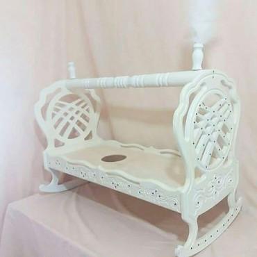 Детская мебель - Цвет: Белый - Бишкек: Продаю новый бешик из березы. Ткань королевский турецкий велюр