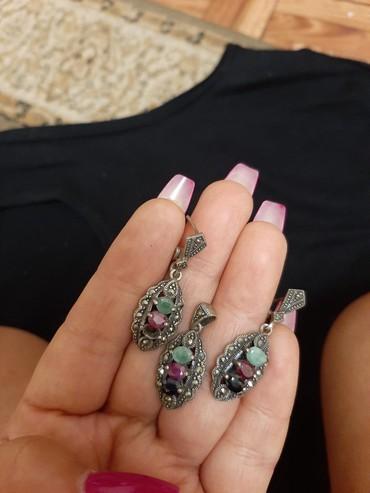 серебряный комплект с красными камнями в Кыргызстан: Шикарный серебряный комплект ручной работы 925°, состоящий из таких
