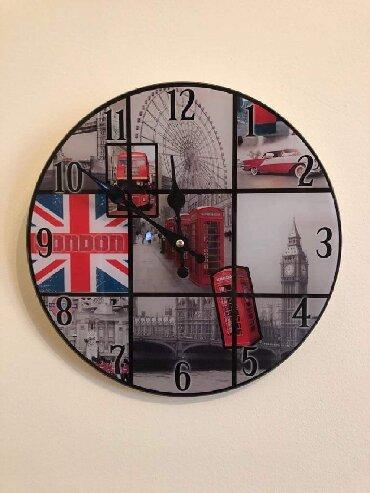 Mathori london - Srbija: Zidni sat  Stakleni zidni sat- London  Precnik 30cm