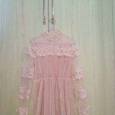 Нежное, плиссированное,кружевное платье. В нежно розовом цвете,с
