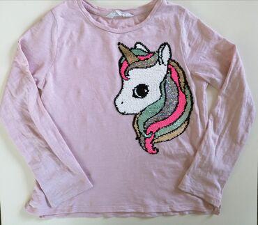 H&M brisi/pisi majica sa likom jednoroga, u vel 122/128 od 100%