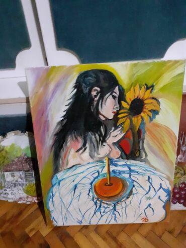 Slike na platnu - Srbija: Slika,, Moj svet i cvet,, ulje na platnu