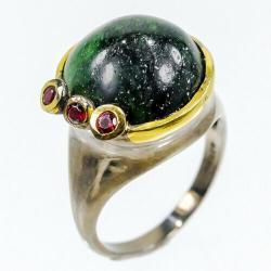 работа ювелиром в Азербайджан: Серебряное кольцо с ЦоизитомЭксклюзивное кольцо ручной работы от