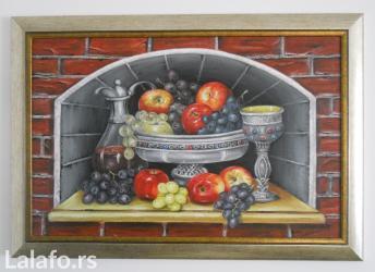 Kuća i bašta | Lebane: Ulje na platnu, Uramljena kao na slici 80x55, sliku kupujete direktno