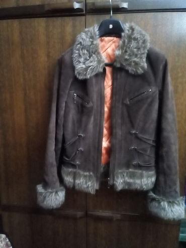 Kozna jakna sa krznom - Srbija: Zimska jakna sa krznom,kozna,velicina 38