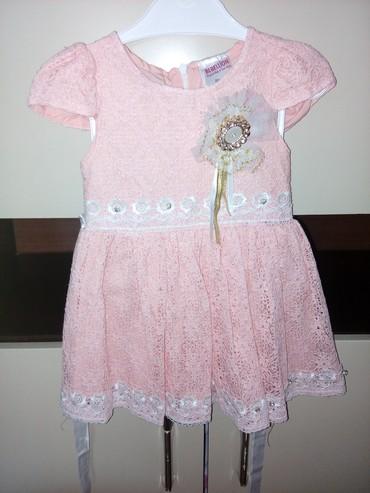 Decije haljine - Pirot: Haljinica za devojcicu obucena jednom, vel.86-1, boja je nesto