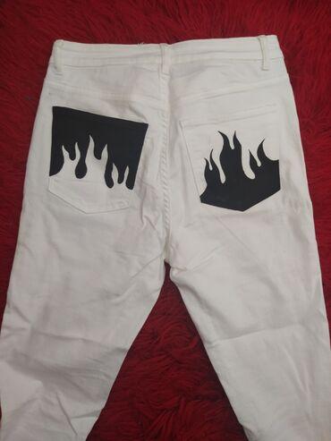 Τζιν - Ελλαδα: Παντελόνι τζιν άσπρο ζωγραφισμένο με φλόγες μαύρες. Χειροποίητο . Δεν